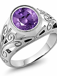 cheap -925 sterling silver oval amethyst men's ring 4.60 ct (size 8)