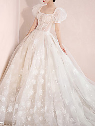 cheap -Princess Ball Gown Wedding Dresses Bateau Neck Chapel Train Lace Short Sleeve Formal Romantic with Pleats Appliques 2021