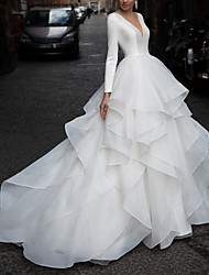 cheap -A-Line Wedding Dresses V Neck Court Train Organza Satin Long Sleeve Formal Luxurious with Pick Up Skirt Cascading Ruffles 2020