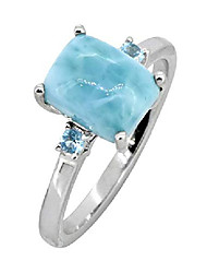 cheap -2.87 cts. larimar swiss blue topaz solid 925 sterling silver ring