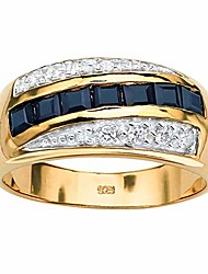 cheap -men's 18k yellow gold over sterling silver square cut genuine blue sapphire and round cubic zirconia ring size 16