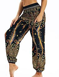 cheap -Women's High Waist Yoga Pants Side Pockets Harem Bloomers Breathable Quick Dry Bohemian Hippie Boho Blue Red Yellow Pilates Dance Bikram Sports Activewear Loose