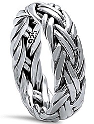 cheap -men's plain braided band .925 sterling silver ring sizes 9-13 (7)