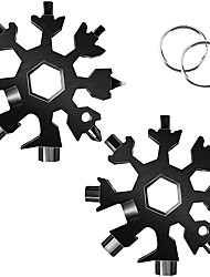 cheap -2pcak 18-in-1 Snowflake Multi-function Tool Stainless Steel Snowflake Keychain Tool/screwdriver Set/wrench Durable and Light and Portable a Beautiful Christmas Gift(black)