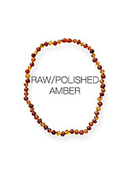 cheap -necklace - polished/raw mix baroque amber necklace   certified genuine amber necklace   cognac color (12.5 inches)