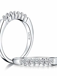 cheap -platinum plated sterling silver ring princess cut 7 seven stone ring half eternity anniversary wedding band size 5-10