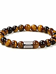 cheap -tigers eye stone gem semi precious womens mens stretch bracelet, real natural gemstone 8mm beads classic simple design birthday gift 7.5 inch