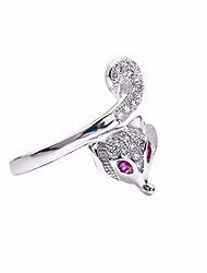 cheap -women's adjustable open fox tail ring, fashion cute lovely animal crystal cz rings for women sizes 6-10