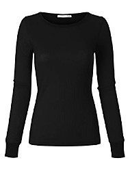 cheap -women's plain basic round crew neck thermal long sleeves t shirt top black 2xl