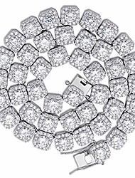 cheap -18k gold plated square halo necklace with round cut cubic zirconia jumbo lab simulated diamond iced out chain (white gold, 18)
