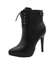cheap -Women's Boots Stiletto Heel Pointed Toe Booties Ankle Boots Daily Walking Shoes PU Rivet Lace-up Solid Colored Black Brown / Mid-Calf Boots