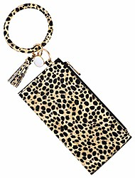 cheap -bracelet keychain wallet, leopard leather keyring bangle bracelets wristlet clutch purse with cell phone holder for women girls (light brown leopard+wristlet purse)