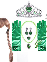 cheap -Princess Halloween Props Holiday Jewelry Girls' Movie Cosplay Jewelry Cute Green Gloves Necklace Gauntlets Christmas Halloween Carnival Plastics / Earring / Tiaras / Wand / Wig