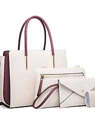 cheap -Women's Bags Polyester Bag Set 4 Pieces Purse Set Zipper Color Block Plain Daily Date Bag Sets 2021 Handbags White Black Khaki Royal Blue