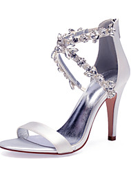 cheap -Women's Wedding Shoes High Heel Open Toe Wedding Party & Evening Satin Rhinestone Crystal Solid Colored White Black Purple
