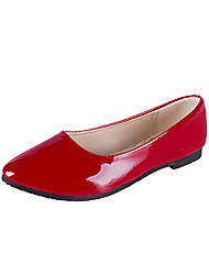 cheap -Women's Flats Flat Heel Round Toe Casual Daily PU Solid Colored White Black Red