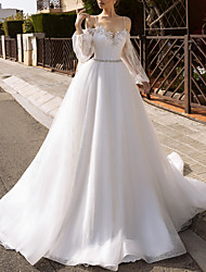 cheap -A-Line Wedding Dresses V Neck Chapel Train Lace Tulle Sleeveless Country Sparkle & Shine with Sashes / Ribbons Appliques 2021
