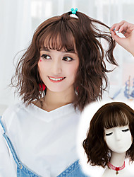 cheap -Synthetic Wig Wavy Wavy Bob With Bangs Wig Short Flaxen Chestnut Brown Ash Brown#8 Brown Grey Synthetic Hair Women's Brown Gray Yellow