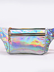 cheap -Unisex Bags PU Leather Fanny Pack Sling Shoulder Bag Buttons Plain Daily Outdoor 2021 Laser Bag Black Purple Blushing Pink Silver