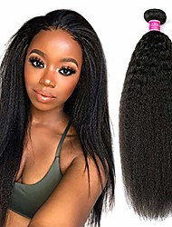 cheap -clarolair kinky straight bundles brazilian hair bundles yaki human hair bundles yaki straight hair one bundles non remy hair natural black 100g±5g/pc (yaki closure 16)