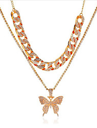 cheap -Women's Cubic Zirconia Chain Necklace Classic Butterfly Fashion Alloy Black Blushing Pink Gold Silver 39+7 cm Necklace Jewelry 1pc For Anniversary Prom Birthday Party Festival