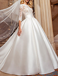 cheap -A-Line Wedding Dresses Jewel Neck Chapel Train Lace Satin Half Sleeve Formal Luxurious with 2021