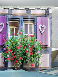 cheap -Window Love Flowers Digital Printing Shower Curtain Shower Curtains  Hooks Modern Polyester New Design