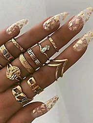cheap -boho gold ring set joint knuckle carved finger rings stylish hand accessories jewelry for women and girls (11pcs)
