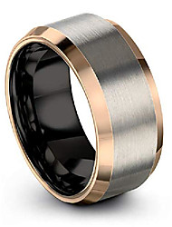cheap -tungsten wedding band ring 10mm for men women 18k rose gold plated bevel edge black grey brushed polished size 5