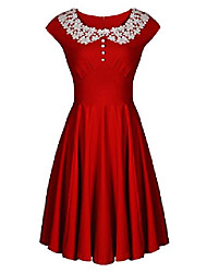 cheap -women's vintage audrey 1940s lace swing formal party skaters gown dress xxl red