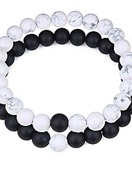 cheap -8mm 2pcs/set black agate/crystal gem bracelet stretch bracelets for couples girlfriend boyfriend (style05)