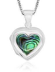 cheap -925 sterling silver abalone shell heart locket necklace, 18""