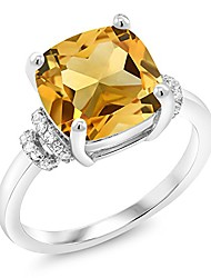 cheap -925 sterling silver yellow citrine women engagement ring (3.51 ct cushion, gemstone birthstone, available in size 5, 6, 7, 8, 9)