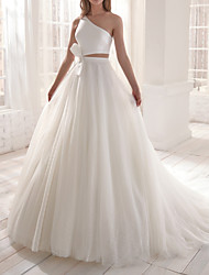 cheap -Two Piece A-Line Wedding Dresses One Shoulder Court Train Satin Tulle Sleeveless Romantic Simple with Bow(s) 2021