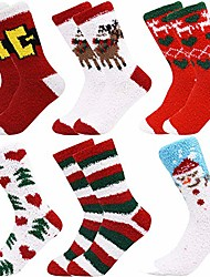 cheap -warm cozy socks for women adult fuzzy socks winter socks pack of 6 party costumes - - one size