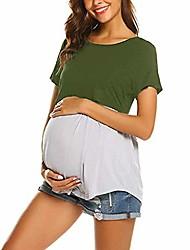 cheap -ladies breastfeeding top lonshell women pregnant maternity nursing t-shirt blouse pregnancy splicing top ladies short sleeve maternity