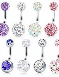 cheap -8 pcs 14g stainless steel belly button rings rhinestone disco balls screw navel bars body piercing for women girls