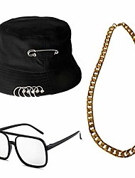 cheap -80s/90s hip hop costume classic bucket hat gold chain vintage black frame glasses rapper accessories …