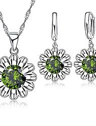 cheap -jemmin romantic jewelry  beautiful zircon sun flower pendant necklace earrings (light purple) (green)