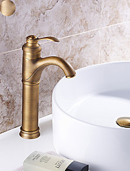 cheap -Bathroom Sink Faucet - Floor Standing Antique Brass / Antique Copper / Electroplated Centerset Single Handle One HoleBath Taps