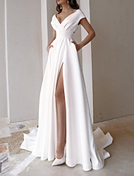 cheap -A-Line Wedding Dresses V Neck Sweep / Brush Train Stretch Satin Sleeveless Simple Beach with Split Front 2021