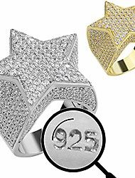 cheap -solid 925 sterling silver - large men's hip hop star ring - iced out cz pinky ring - natural silver or 14k gold plated - sz 7-13 (sterling-silver, 7)