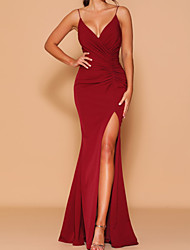 cheap -Sheath / Column V Neck / Spaghetti Strap Floor Length Chiffon Bridesmaid Dress with Draping / Split Front