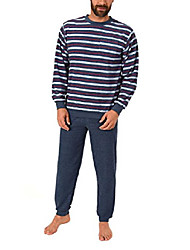 cheap -elegant men's terry pajamas long pajamas with cuffs - also in oversizes 61505, size 2: 64, color: blue
