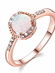 cheap -14k gold plated rose gold opal ring for women cubic zirconia 925 sterling silver stacking rings (blue 6)