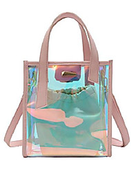 cheap -women's holographic transparent tote bag handbag clear chain shoulder bag (pink)