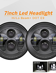 cheap -2 Pcs 7 Inch Motorcycle Headlamp DRL Hi Low Beam Headlamp Angel Eye Turn Signal Light Led Headlight for Jeep Offroad 4x4 Lada