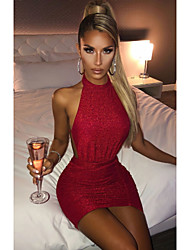 cheap -Women's Sheath Dress Short Mini Dress - Sleeveless Solid Color Backless Summer Sexy Party Slim 2020 Blushing Pink Wine Beige S M L XL