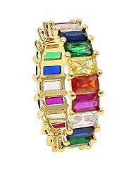 cheap -gold filled fashion jewelry rainbow square baguette cz engagement ring for women colorful cubic zirconia cz eternity band ring (gold, 7)
