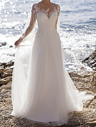 cheap -A-Line Wedding Dresses Jewel Neck Floor Length Lace Tulle Long Sleeve Beach with Appliques 2021